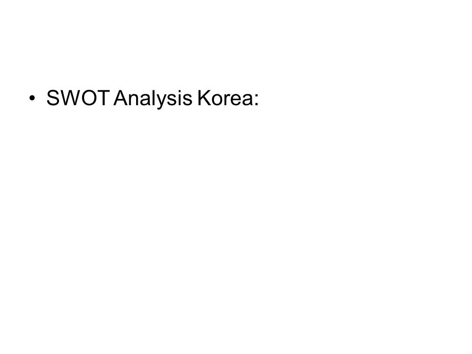 SWOT Analysis Korea: