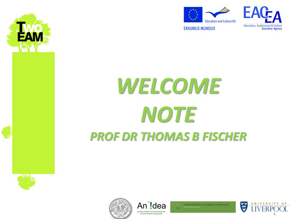 4 WELCOME NOTE PROF DR THOMAS B FISCHER