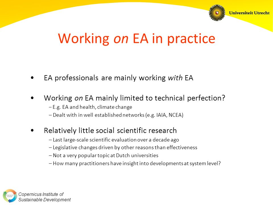 Copernicus Institute of Sustainable Development Working on EA in practice EA professionals are mainly working with EA Working on EA mainly limited to technical perfection.