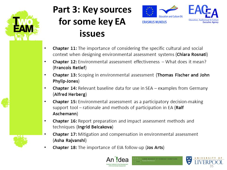 35 Part 3: Key sources for some key EA issues Chapter 11: The importance of considering the specific cultural and social context when designing enviro