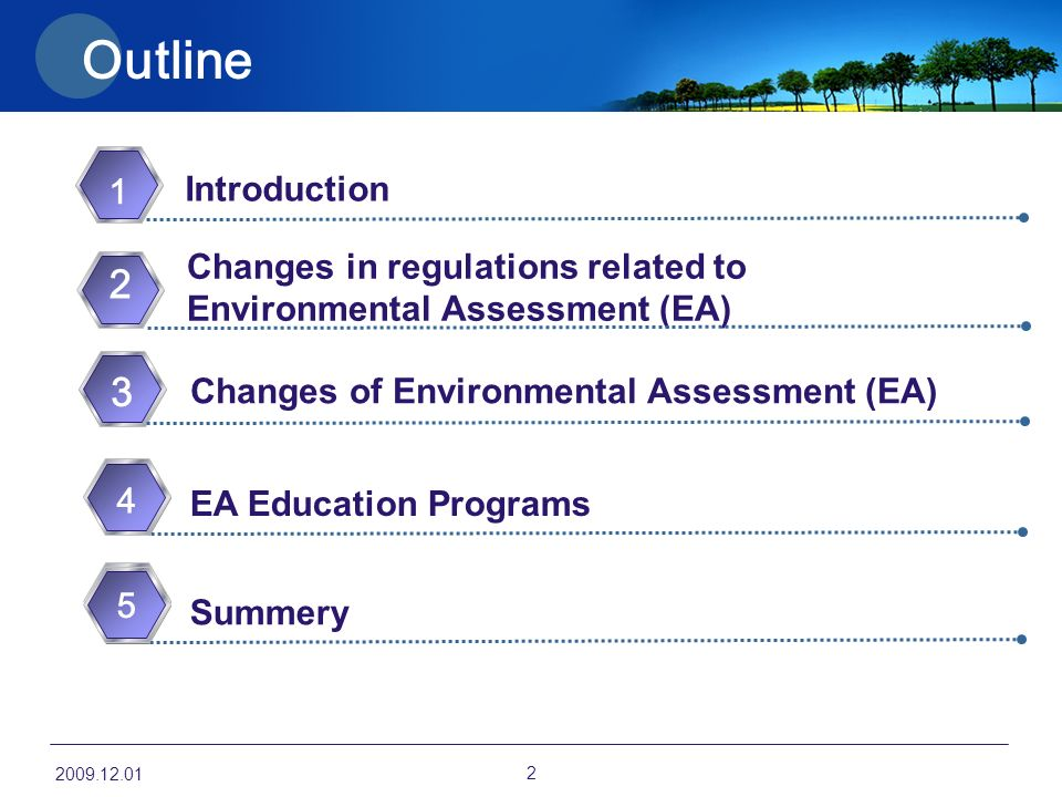Outline 1 Changes in regulations related to Environmental Assessment (EA) 2 Summery EA Education Programs 3 Changes of Environmental Assessment (EA) 1 Introduction
