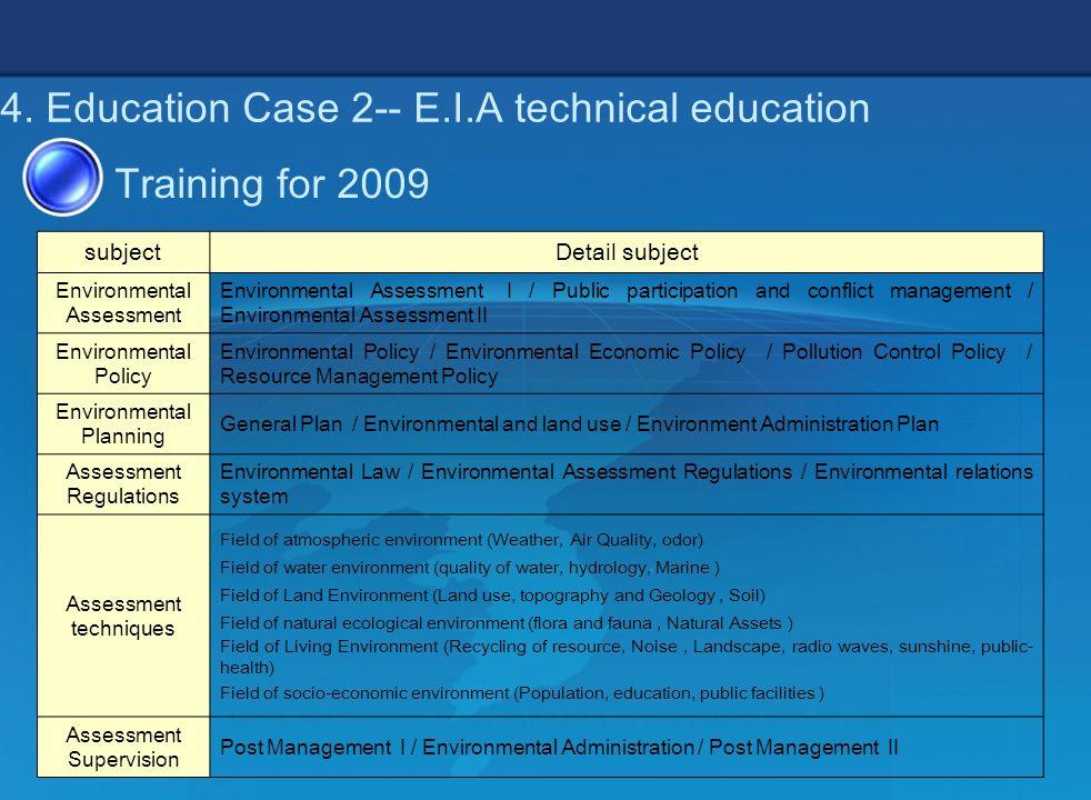 10 4. Education Case 2-- E.I.A technical education subjectDetail subject Environmental Assessment Environmental Assessment I / Public participation an
