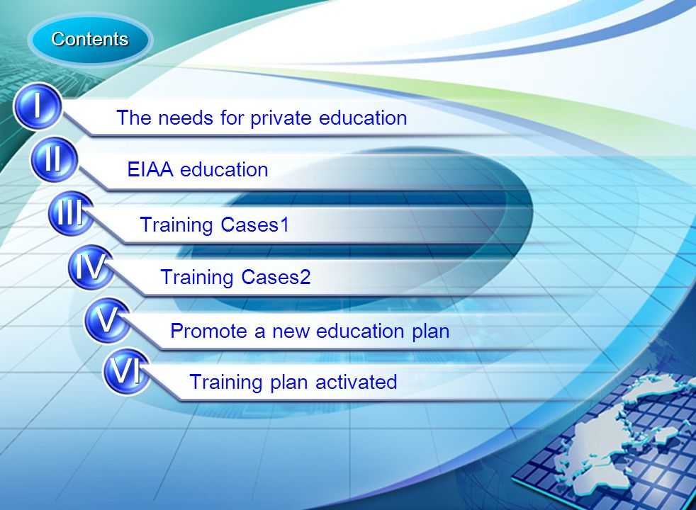 2 The needs for private education EIAA education Training Cases1 Training Cases2 Promote a new education plan Training plan activated Contents