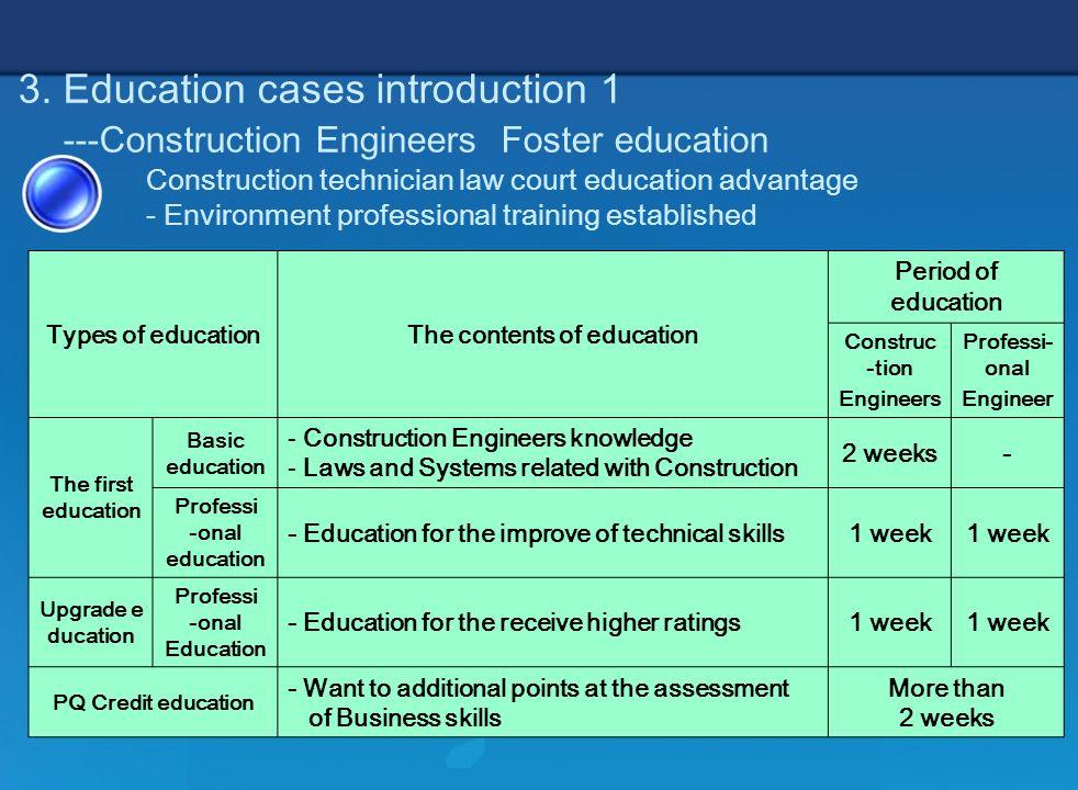 7 3. Education cases introduction 1 ---Construction Engineers Foster education Construction technician law court education advantage - Environment pro