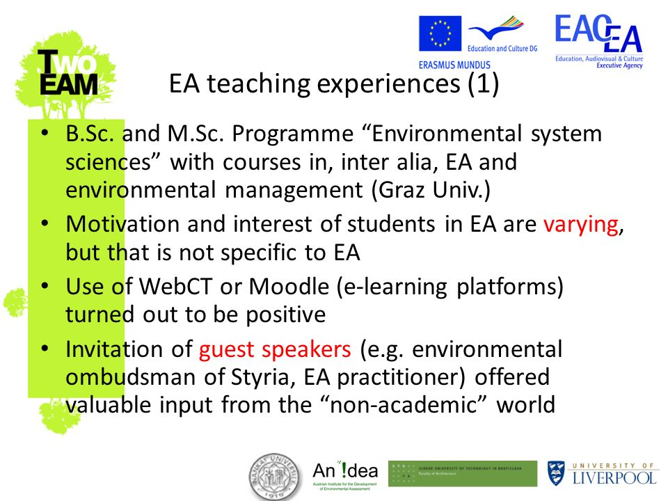 EA teaching experiences (1) B.Sc. and M.Sc.