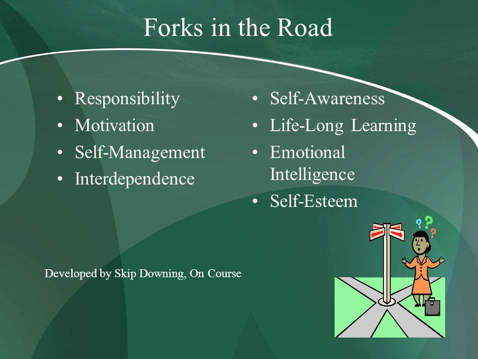 Forks in the Road Responsibility Motivation Self-Management Interdependence Self-Awareness Life-Long Learning Emotional Intelligence Self-Esteem Devel
