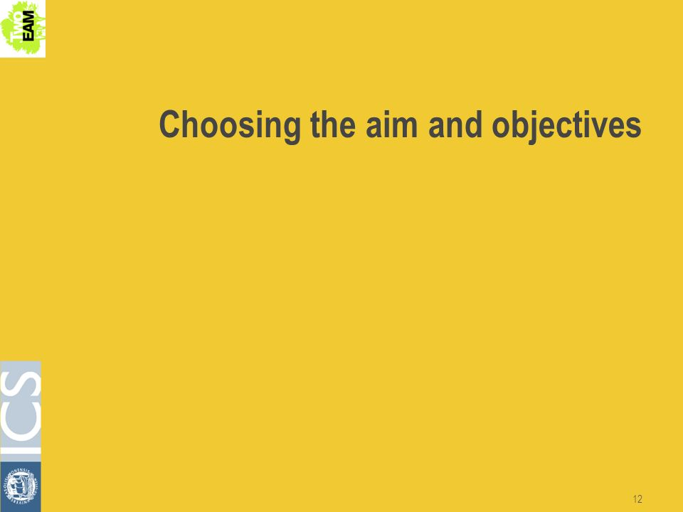 12 Choosing the aim and objectives