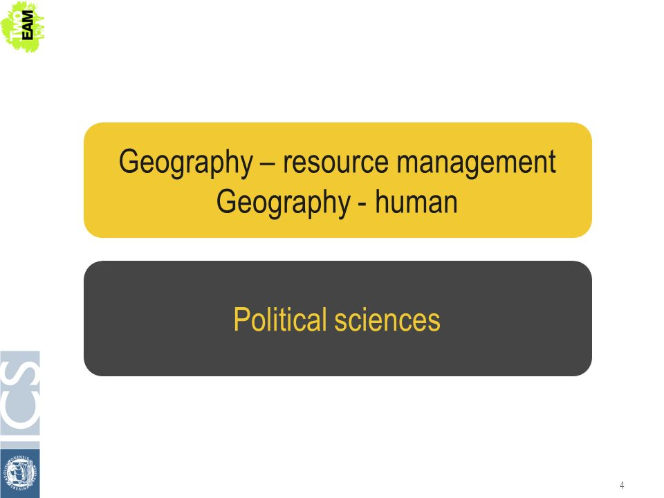 4 Political sciences Geography – resource management Geography - human