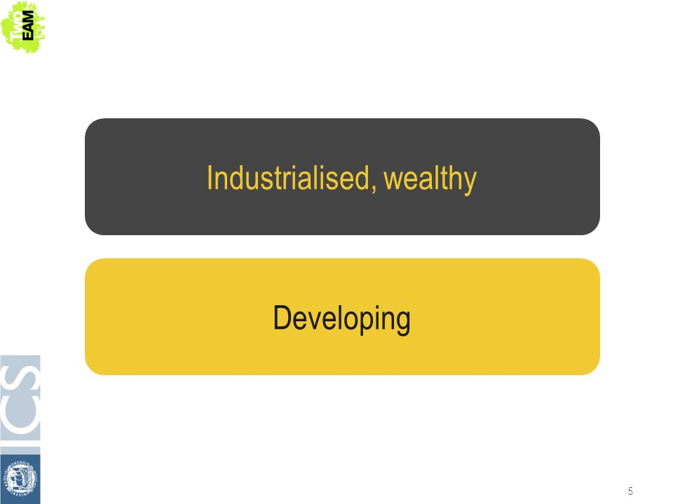 5 Industrialised, wealthy Developing