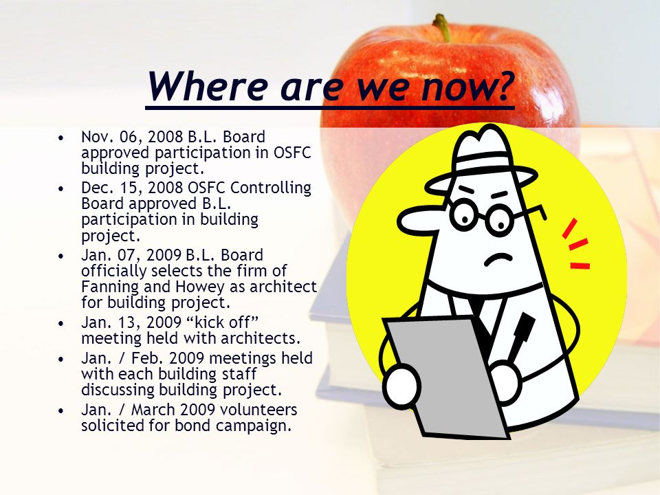 Where are we now? Nov. 06, 2008 B.L. Board approved participation in OSFC building project. Dec. 15, 2008 OSFC Controlling Board approved B.L. partici