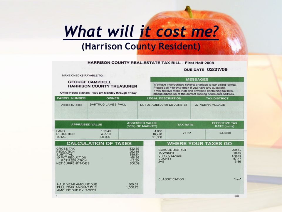 What will it cost me? (Harrison County Resident)