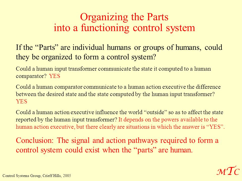 MTCMTC Control Systems Group, Crieff Hills, 2005 Organizing the Parts into a functioning control system If the Parts are individual humans or groups of humans, could they be organized to form a control system.