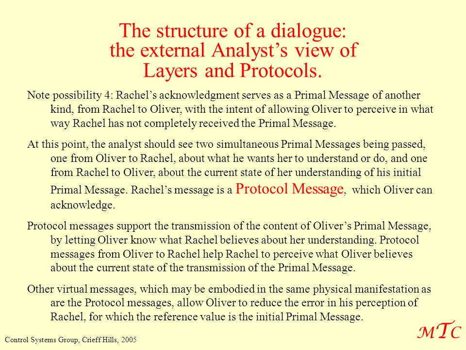 MTCMTC Control Systems Group, Crieff Hills, 2005 The structure of a dialogue: the external Analysts view of Layers and Protocols. Note possibility 4: