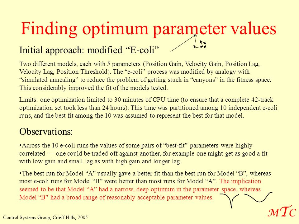 MTCMTC Control Systems Group, Crieff Hills, 2005 Finding optimum parameter values Initial approach: modified E-coli Two different models, each with 5 parameters (Position Gain, Velocity Gain, Position Lag, Velocity Lag, Position Threshold).