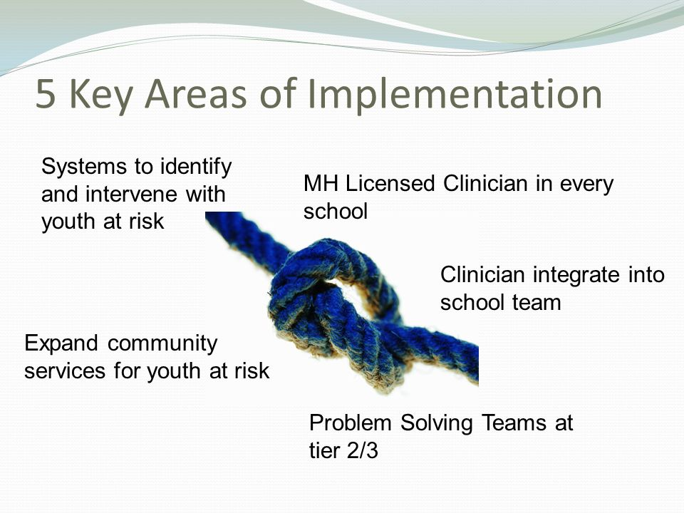 5 Key Areas of Implementation MH Licensed Clinician in every school Clinician integrate into school team Problem Solving Teams at tier 2/3 Expand community services for youth at risk Systems to identify and intervene with youth at risk