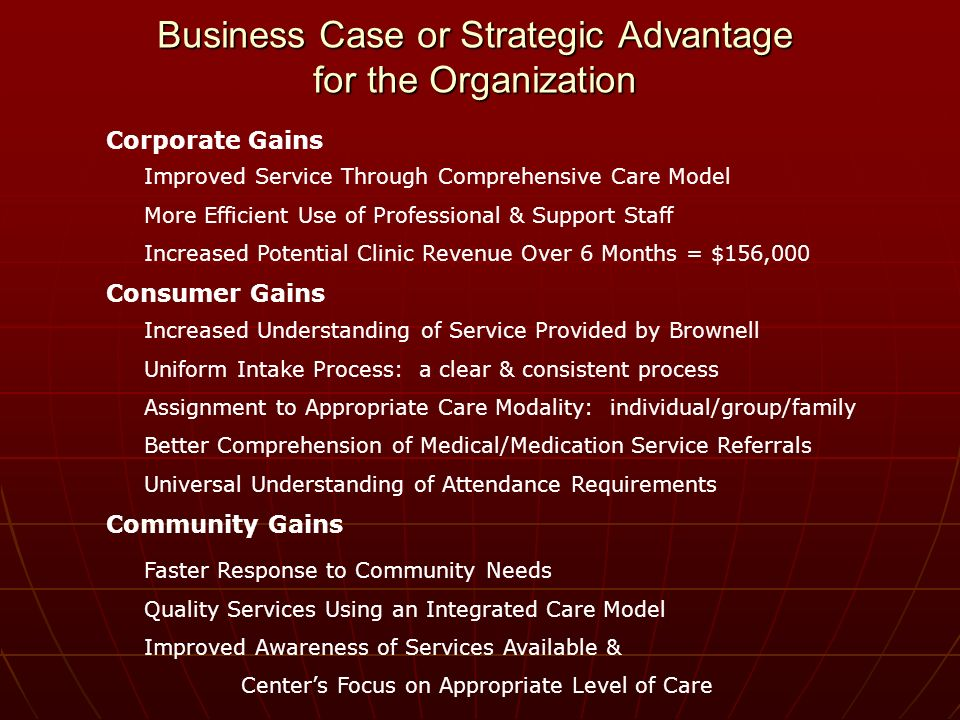 Business Case or Strategic Advantage for the Organization Corporate Gains Improved Service Through Comprehensive Care Model More Efficient Use of Professional & Support Staff Increased Potential Clinic Revenue Over 6 Months = $156,000 Consumer Gains Increased Understanding of Service Provided by Brownell Uniform Intake Process: a clear & consistent process Assignment to Appropriate Care Modality: individual/group/family Better Comprehension of Medical/Medication Service Referrals Universal Understanding of Attendance Requirements Community Gains Faster Response to Community Needs Quality Services Using an Integrated Care Model Improved Awareness of Services Available & Centers Focus on Appropriate Level of Care