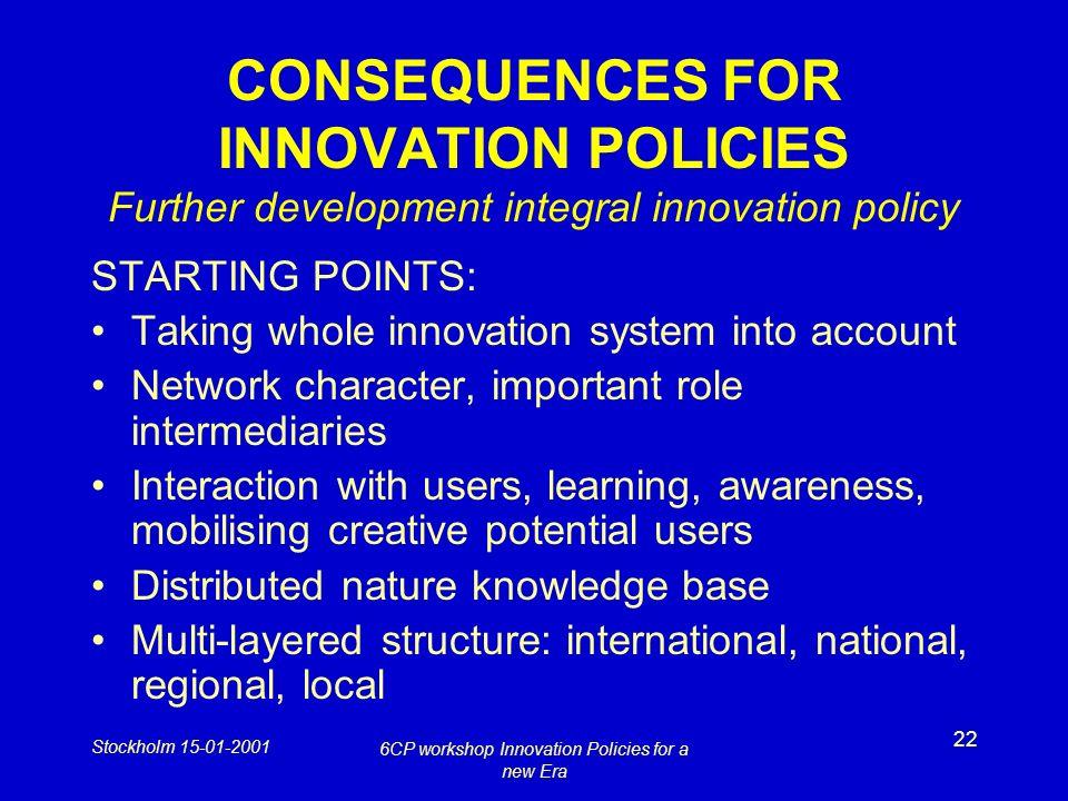 Stockholm 15-01-2001 6CP workshop Innovation Policies for a new Era 22 CONSEQUENCES FOR INNOVATION POLICIES Further development integral innovation po