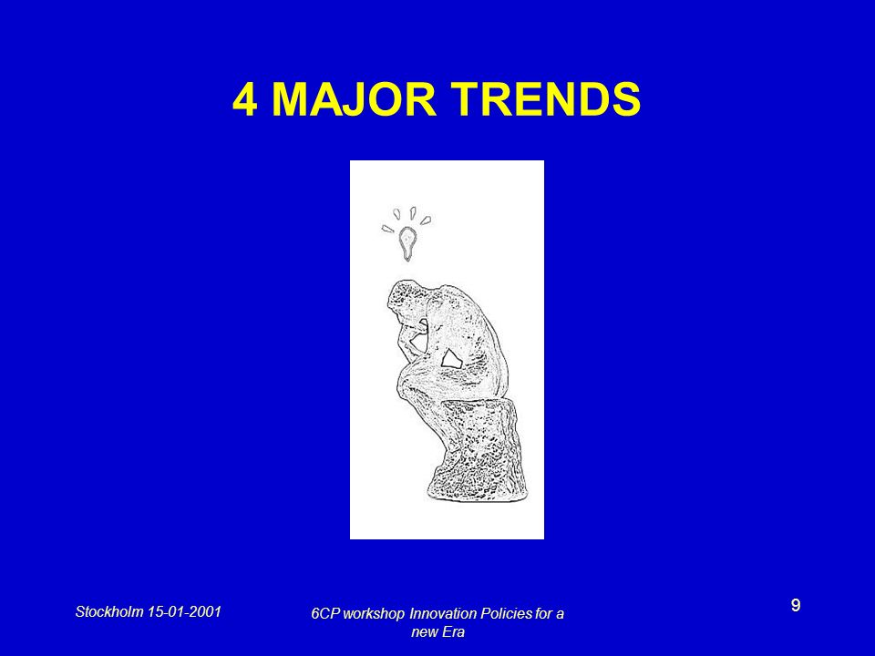Stockholm 15-01-2001 6CP workshop Innovation Policies for a new Era 9 4 MAJOR TRENDS