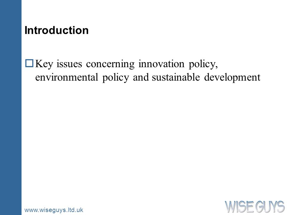 www.wiseguys.ltd.uk Introduction oKey issues concerning innovation policy, environmental policy and sustainable development