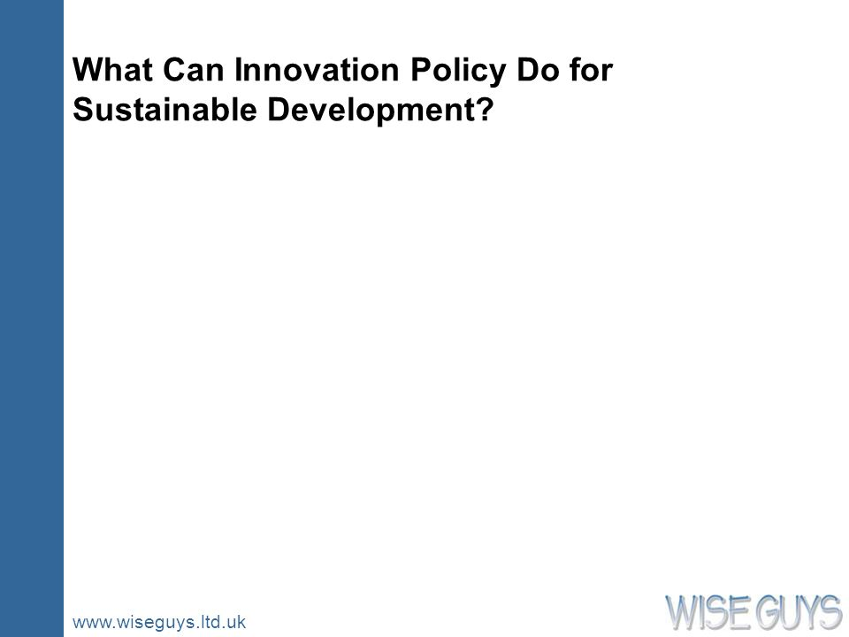 www.wiseguys.ltd.uk What Can Innovation Policy Do for Sustainable Development?