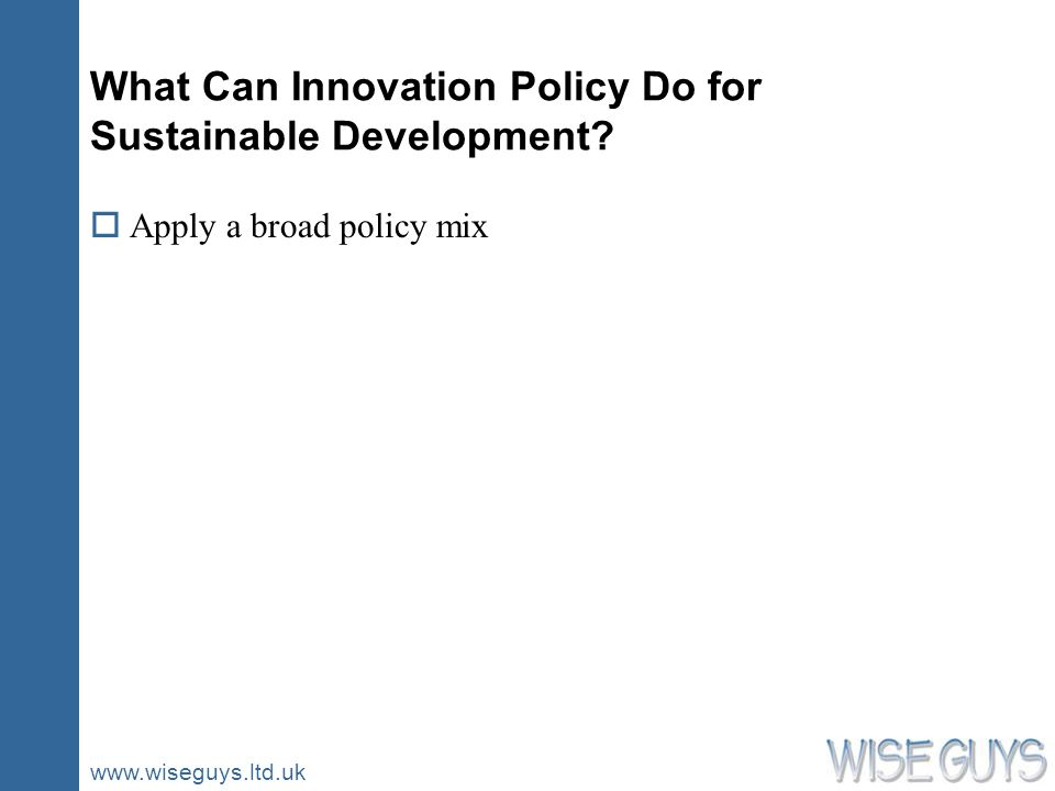 www.wiseguys.ltd.uk What Can Innovation Policy Do for Sustainable Development.