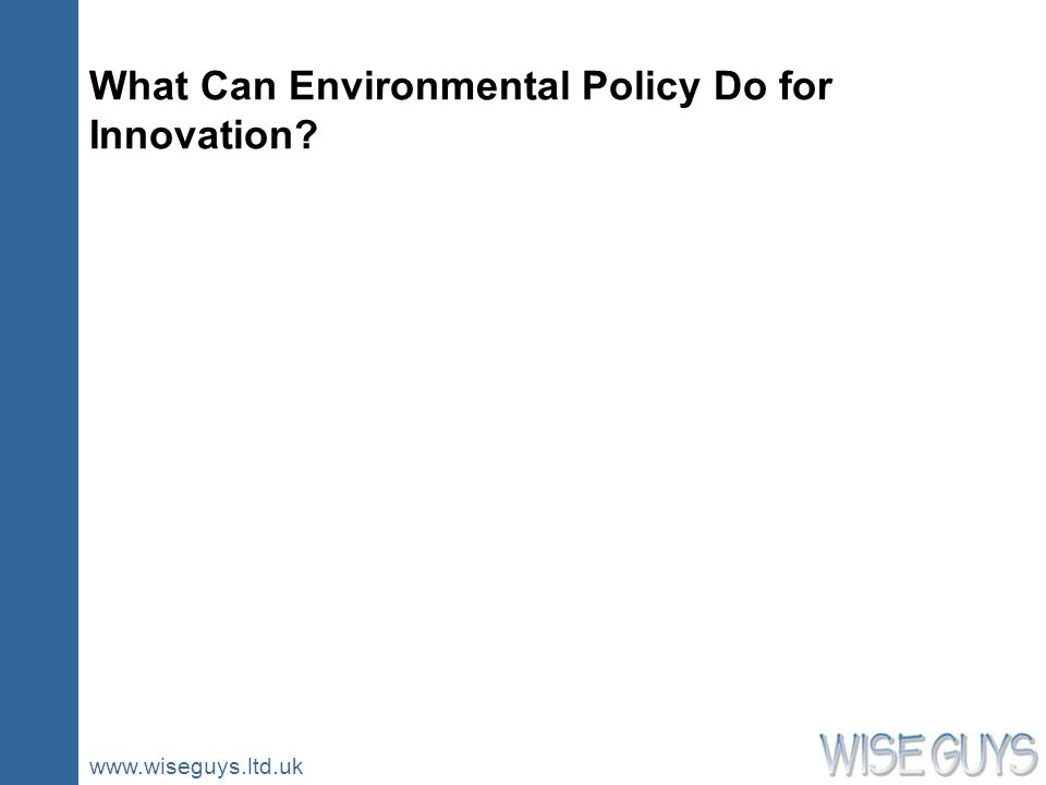 www.wiseguys.ltd.uk What Can Environmental Policy Do for Innovation