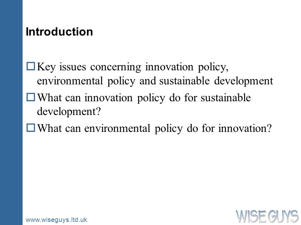 www.wiseguys.ltd.uk Introduction oKey issues concerning innovation policy, environmental policy and sustainable development oWhat can innovation polic