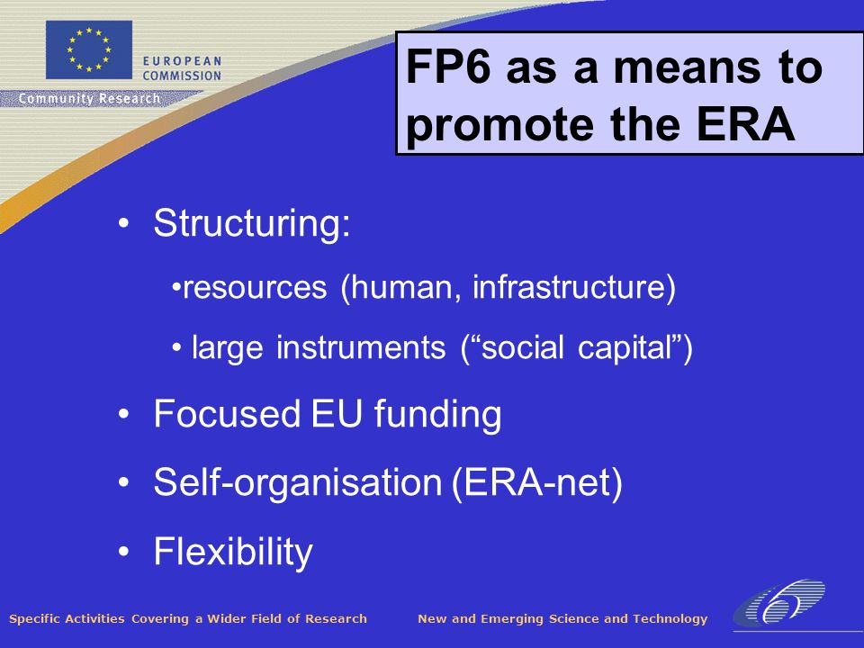 Specific Activities Covering a Wider Field of Research New and Emerging Science and Technology FP6 as a means to promote the ERA Structuring: resources (human, infrastructure) large instruments (social capital) Focused EU funding Self-organisation (ERA-net) Flexibility