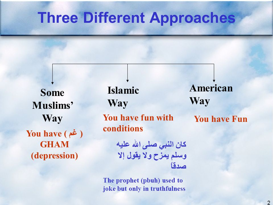 2 Three Different Approaches Some Muslims Way Islamic Way American Way You have ( غم ) GHAM (depression) You have Fun You have fun with conditions كان