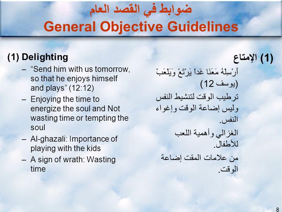 8 ضوابط في القصد العام General Objective Guidelines (1) الإمتاع أَرْسِلْهُ مَعَنَا غَداً يَرْتَعْ وَيَلْعَبْ (يوسف 12) ترطيب الوقت لتنشيط النفس وليس إ