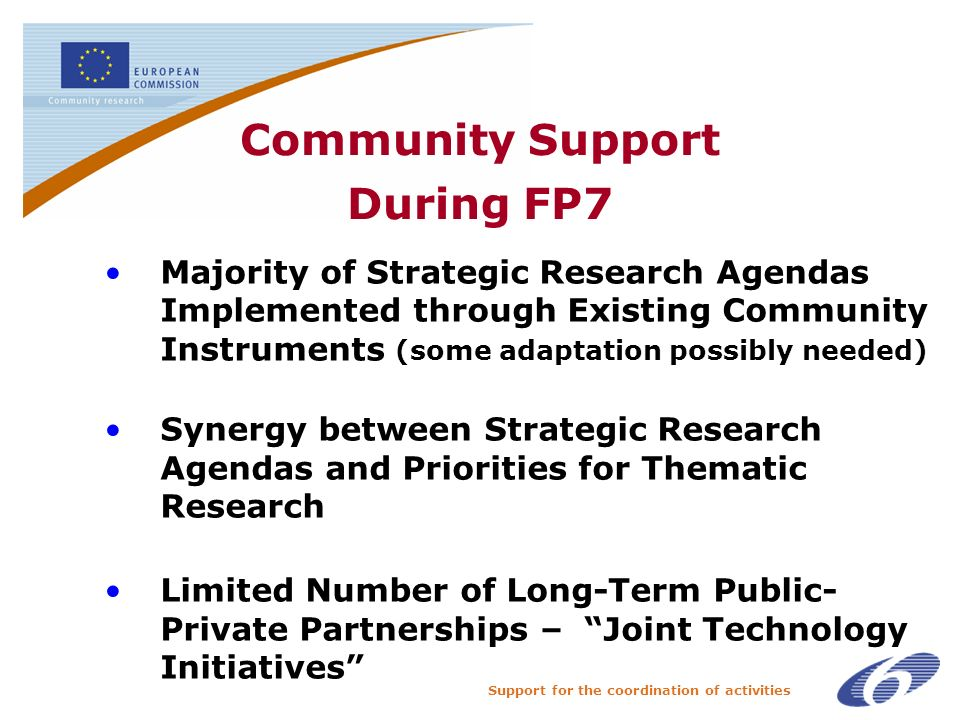 Support for the coordination of activities Community Support During FP7 Majority of Strategic Research Agendas Implemented through Existing Community Instruments (some adaptation possibly needed) Synergy between Strategic Research Agendas and Priorities for Thematic Research Limited Number of Long-Term Public- Private Partnerships – Joint Technology Initiatives