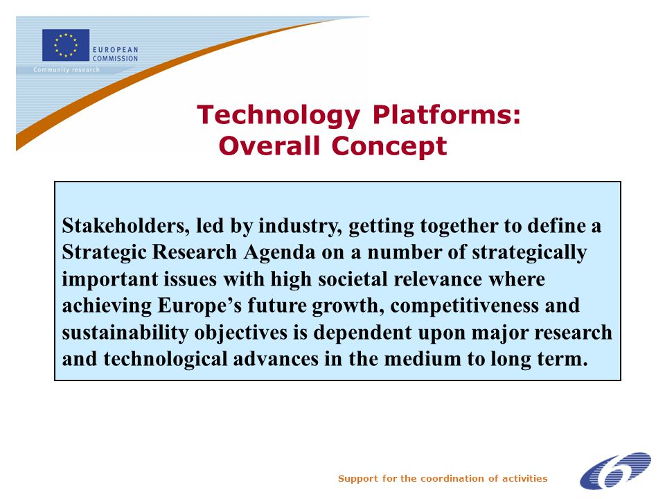 Support for the coordination of activities Technology Platforms: Overall Concept The Stakeholders, led by industry, getting together to define a Strategic Research Agenda on a number of strategically important issues with high societal relevance where achieving Europes future growth, competitiveness and sustainability objectives is dependent upon major research and technological advances in the medium to long term.