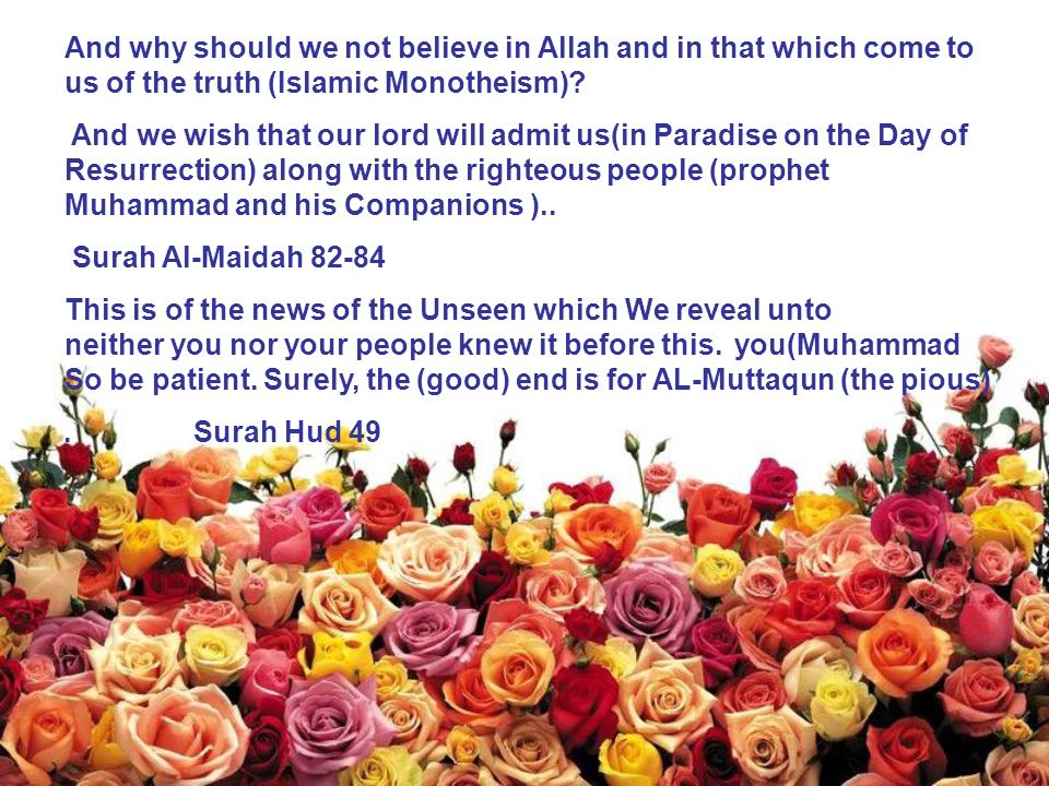 And why should we not believe in Allah and in that which come to us of the truth (Islamic Monotheism).