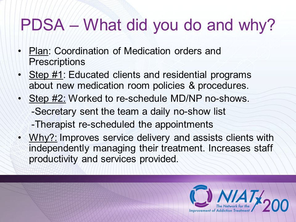 PDSA – What did you do and why? Plan: Coordination of Medication orders and Prescriptions Step #1: Educated clients and residential programs about new