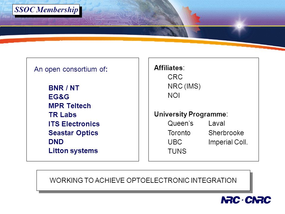 SSOC Membership WORKING TO ACHIEVE OPTOELECTRONIC INTEGRATION An open consortium of: BNR / NT EG&G MPR Teltech TR Labs ITS Electronics Seastar Optics DND Litton systems Affiliates: CRC NRC (IMS) NOI University Programme: QueensLaval TorontoSherbrooke UBCImperial Coll.