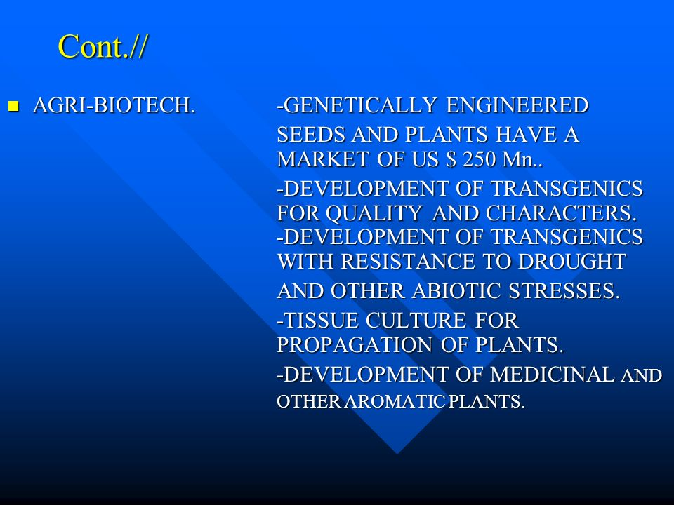 Cont.// AGRI-BIOTECH.-GENETICALLY ENGINEERED AGRI-BIOTECH.-GENETICALLY ENGINEERED SEEDS AND PLANTS HAVE A MARKET OF US $ 250 Mn..
