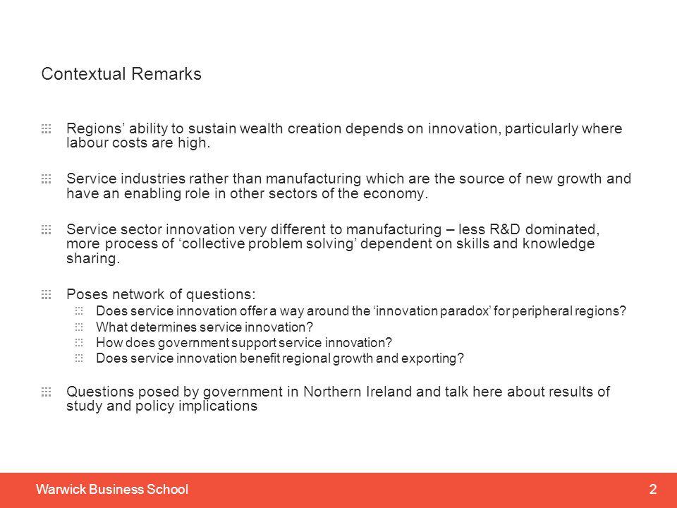 Service Innovation, Embeddedness and Business Performance: UK Regional Evidence James H Love E-Mail: j.h.love@aston.ac.ukj.h.love@aston.ac.uk Stephen Roper E-Mail: stephen.roper@wbs.ac.uk Nola Hewitt-Dundas E-Mail: nm.hewitt@qub.ac.uknm.hewitt@qub.ac.uk