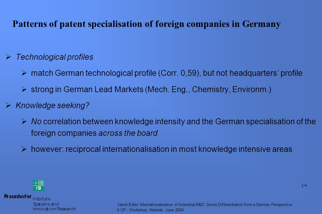 14 Jakob Edler: Internationalisation of Industrial R&D: Some Differentiation from a German Perspective 6 CP - Workshop, Helsinki, June 2004 Technological profiles match German technological profile (Corr.