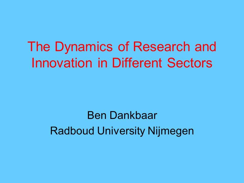 The Dynamics of Research and Innovation in Different Sectors Ben Dankbaar Radboud University Nijmegen