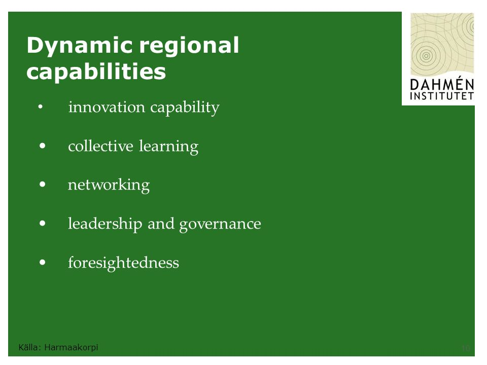 10 Dynamic regional capabilities innovation capability collective learning networking leadership and governance foresightedness Källa: Harmaakorpi