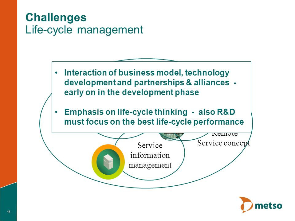 18 Metso persons Metso Systems Machine Customer Systems Customer persons SERVICE BUSINESS CONCEPT Service and maintenance orchestration Service information management Remote Service concept Challenges Life-cycle management Interaction of business model, technology development and partnerships & alliances - early on in the development phase Emphasis on life-cycle thinking - also R&D must focus on the best life-cycle performance