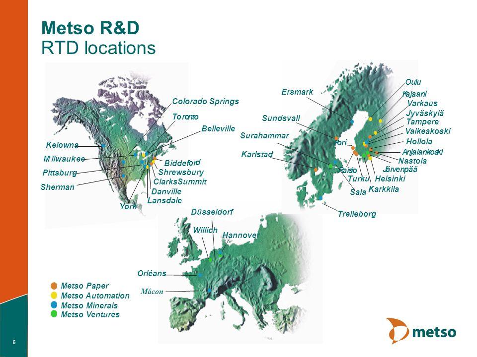 6 Metso R&D RTD locations M ilwaukee Shrewsbury Biddef or d Toronto ClarksSummit Metso Paper Metso Automation Metso Minerals Mâcon Jyväskylä Tampere V