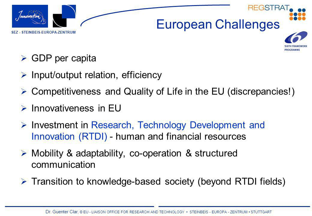 Dr. Guenter Clar, © EU - LIAISON OFFICE FOR RESEARCH AND TECHNOLOGY STEINBEIS - EUROPA - ZENTRUM STUTTGART SEZ - STEINBEIS-EUROPA-ZENTRUM European Cha