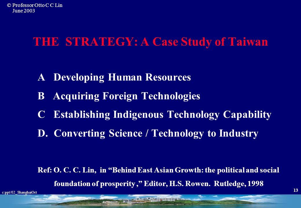 © Professor Otto C C Lin June 2003 c:ppt/02_ShanghaiOct 12 The Economic Growth of Taiwan