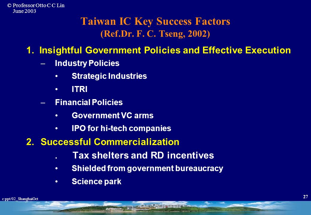 © Professor Otto C C Lin June 2003 c:ppt/02_ShanghaiOct 26 Fabless Industry Growth Numerous Fabless Companies Were Formed Since 1987 –Taiwan From 10 t