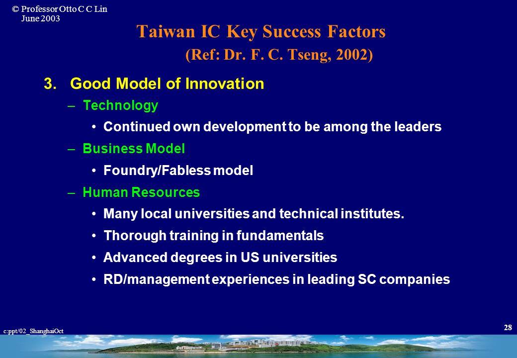 © Professor Otto C C Lin June 2003 c:ppt/02_ShanghaiOct 27 Taiwan IC Key Success Factors (Ref.Dr. F. C. Tseng, 2002) 1. Insightful Government Policies