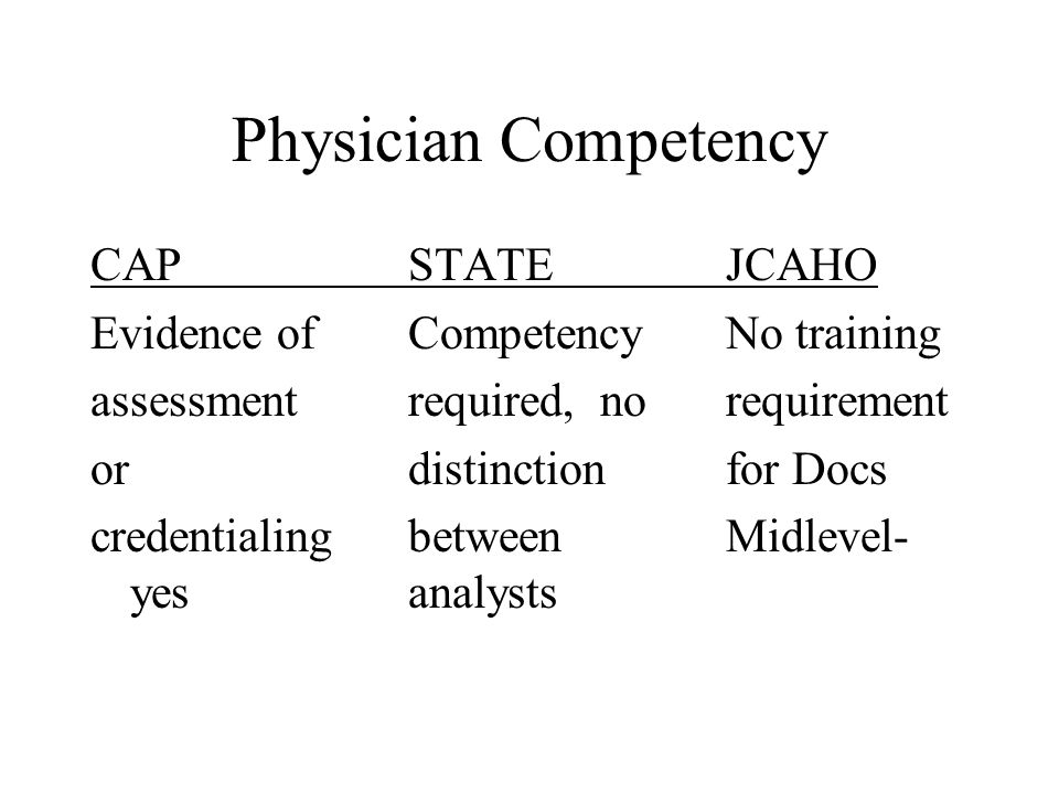 Physician Competency CAPSTATEJCAHO Evidence ofCompetency No training assessmentrequired, norequirement or distinctionfor Docs credentialingbetweenMidl
