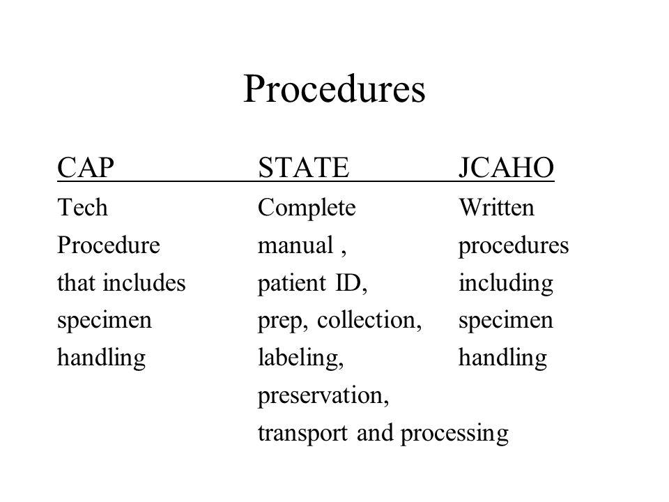 Procedures CAPSTATEJCAHO TechComplete Written Procedure manual,procedures that includespatient ID,including specimenprep, collection,specimen handling