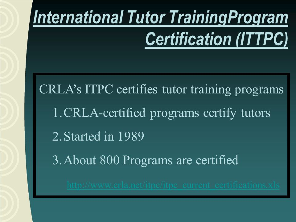 MODES OF TUTOR TRAINING Minimum of two hours of the training must be: Tutor training supervised, Interactive, Live, and Real-time and may take one or more of the following forms.