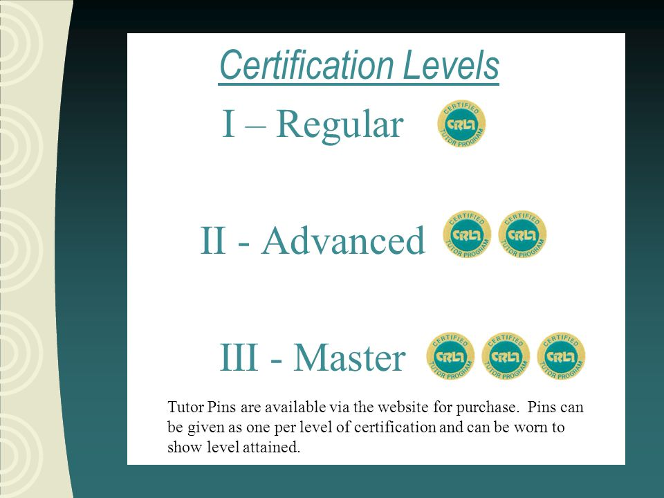 Amount/Duration of Training Minimum of ten hours of tutor training beyond Level I In one of the following: 1.A quarter/semester tutor training course 2.A quarter/semester of tutor training (non-course work)